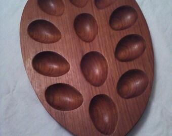 Teak deviled eggs tray