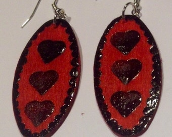 Wooden hand craved earrings