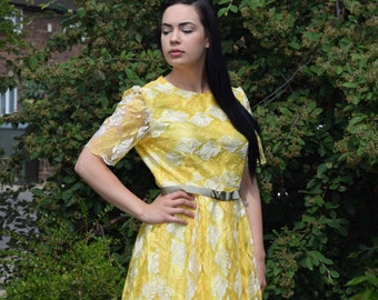 SALES!, Yellow Lace Fabric, Handmade dress, fabric belt,bold,wedding,gift for her, sizes 8-20