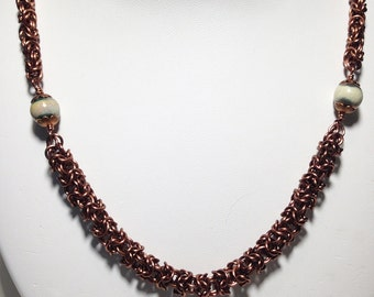 Chainmaille necklace, enameled copper, antique copper color, ceramic beads