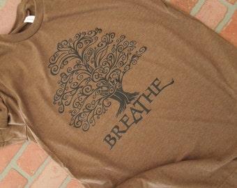Arbor Day Shirt, Breathe Tree Black Graphic Crew-Neck T-Shirt, Environmental T-Shirt, Save the Planet, Earth Day, Tree Hugger