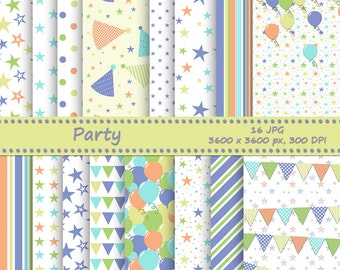 Party digital paper pack - 16 printable jpeg papers, 3600x3600 px, 300 dpi - printable background