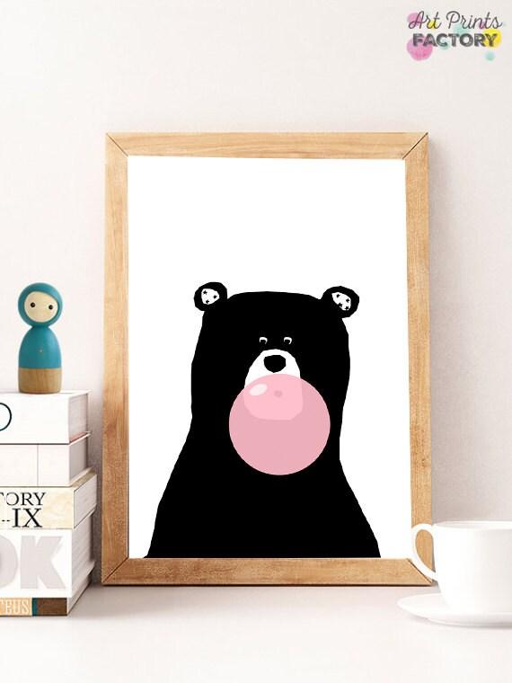 Bubble Gum Bear Print Woodland Nursery Decor By
