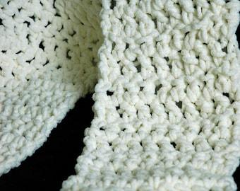 Crochet Snuggle Scarf - Cream