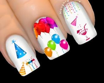 New Years Eve PARTY Celebration Balloon Hats Nail Water Transfer Decal Sticker New Years Eve Tattoo NNC-118