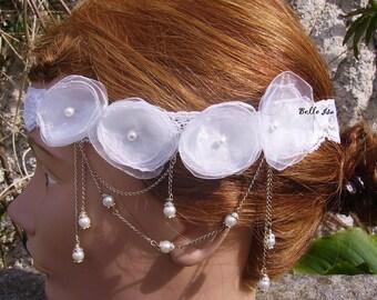 "Light ivory lace headband ""Jasmine"", organza flowers and tiny pearls."