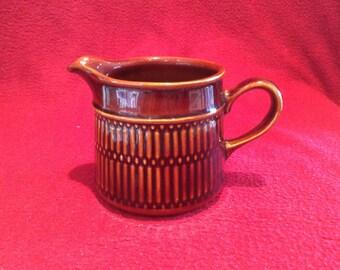 Lancastrian Pottery Brown Milk Jug 1 Pint 8cm tall