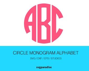 Circle Monogram SVG, Three Letters Monogram, Circle Monogram Alphabet, Svg, Eps, Dxf, Studio3 use with Cricut & Silhouette