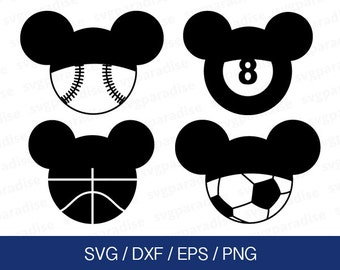 Mickey Sport Balls Svg, Mickey Svg, Disney Svg, Sport Balls Svg, Eps, Dxf, Png use with Cricut & Silhouette