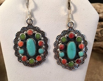 ON SALE Vintage Sterling Silver And Multi Stone Dangle Earrings Stamped