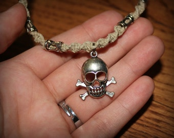Handmade, Hemp Metal Beaded Skull Necklace.