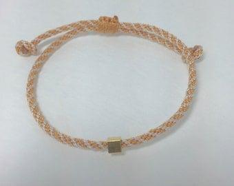 Simple Bracelet with Vermeil Cube Bead