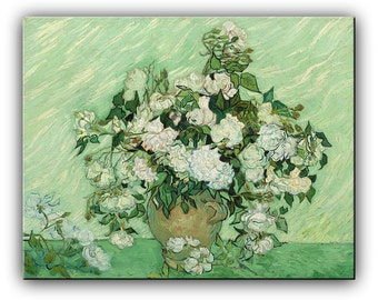 Oil Painting Reproductions , Roses by Vincent Van Gogh, Made to Order Painting, ready to hang