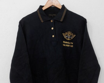 RARE!!! Rudolph Valentino Small Logo Embroidery Black Colour Polos Sweatshirts Hip Hop Swag L (Ladies) Size