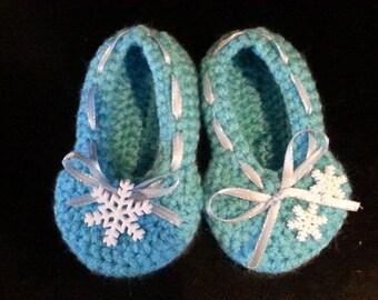 Elsa/Frozen Inspired Crochet Slippers