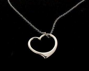 Sterling Silver Open Heart Pendant & Chain