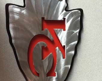 KC Chiefs Arrowhead Dual Layer Metal Wall Art w/ Mounting Holes