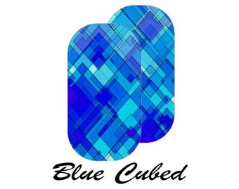 Blue Cubed, Custom Jamberry Nail Wrap