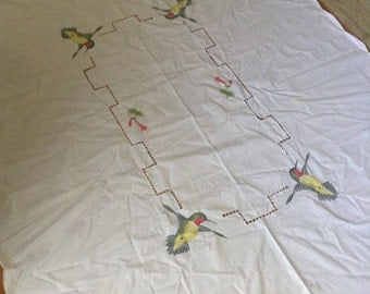 Vintage hand-painted and embroidered 70x51 inch tablecloth, hummingbirds and flowers