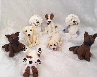 4 x 3D Edible Puppy Dog Cake Topper Fondant Gum Paste cake decoration sugar paste