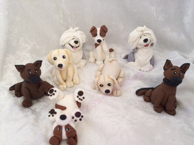 dog cake toppers 4 x 3d edible puppy cake topper fondant gum paste cake 3643