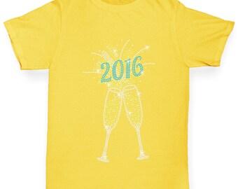 Girl's 2016 Champagne Celebration Rhinestone Diamante T-Shirt