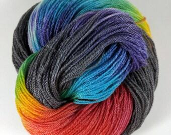 Super Silky Superwash Merino Tencel Sock Yarn - Double Rainbow - Slate Grey -  Hand Dyed -  Luxurious - Hand Painted