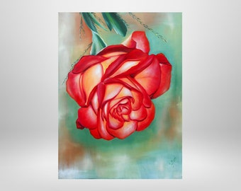 Rose, original oil painting