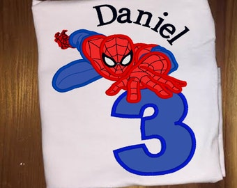 Spiderman Birthday shirt infant bodysuit personalized embroidery and appliqué