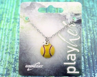 Customized Enamel Softball First Base Necklace - Personalize with Jersey Number, Heart Charm, or Letter Charm! Great Softball Gift!