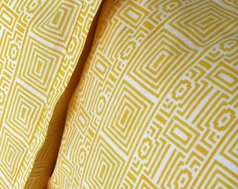 Geometrical Yellow and White Wood-Block Printed Pillowcases. Sold Separately or in Sets.