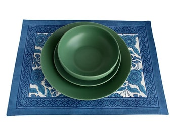 Indian Blue Sunflower Placemat. Wood-Block Printed and Fully Backed.
