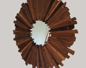 Solid wood wall mirror - rustic