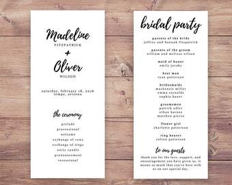 Printable Wedding Program, Simple wedding program, Double-sided wedding program