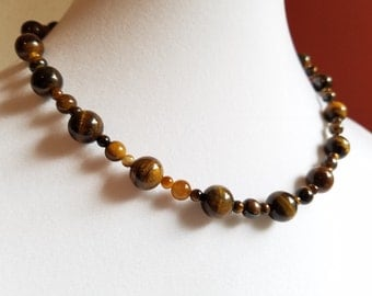 Set: Semiprecious Tiger's Eye Necklace and Earrings