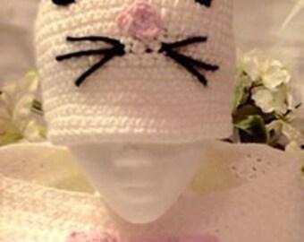 Hello Kitty crocheted beanie hat & scarf set