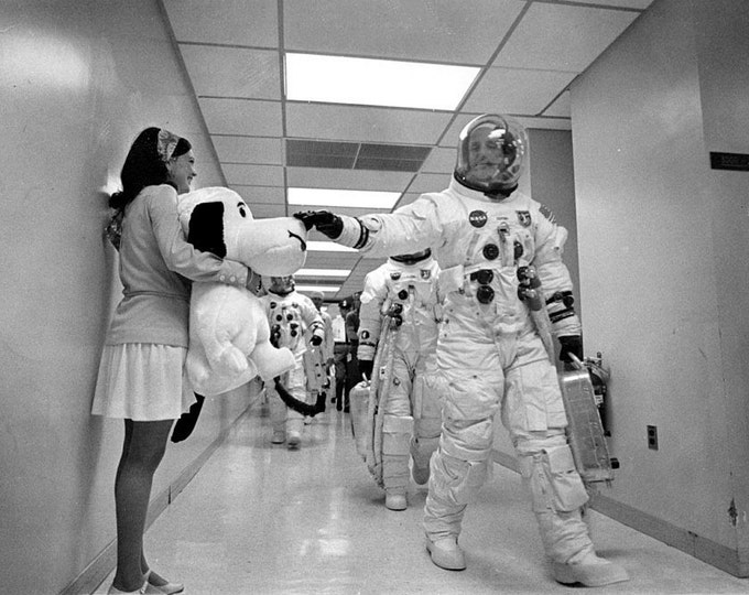 "Astronaut Tom Stafford Pats Nose of Apollo 10 Mascot ""Snoopy"" - 5X7 or 8X10 NASA Photo (AA-183)"