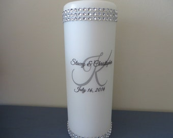 Three Piece Monogrammed Unity Candle Set - Monogrammed with last initial, first names, wedding date