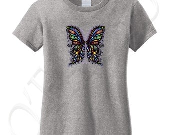 Buterfly Wings Ladies T-shirt Cute Colorful Animal Tee for Women - 1324C