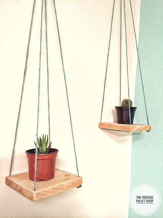3 étagères carrés petit flottant Triangle chaîne corde plage suspendus palette bois Swing étagère rustique fleurissent hang