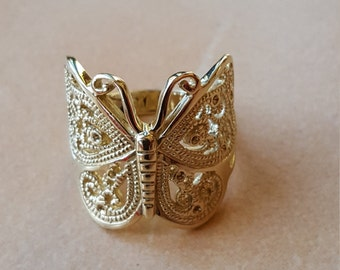 9ct Gold filigree Butterfly ring - Butterfly- rings