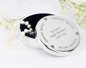Personalised Nickel Plated Round Trinket Box - 'Someone Special'
