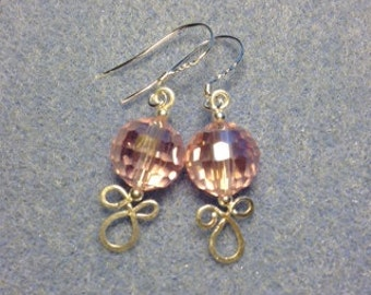 Sterling Silver Pink Crystal dangle earring