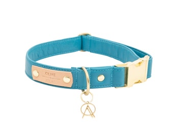 All-Leather Dog Collar in Turquoise Blue