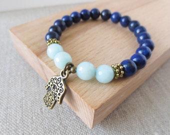 Protection Bracelet, Lapis Lazuli & Amazonite Hamsa Wrist Mala, Antique Bronze, Healing Bracelet