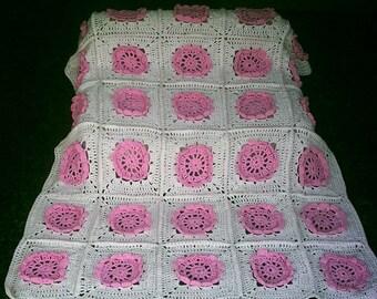 Crochet Applique Flower Pattern Baby Blanket for Bedding