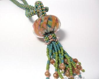 Large Boro bead Tassel necklace