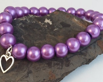 Lilac Heart Bracelet