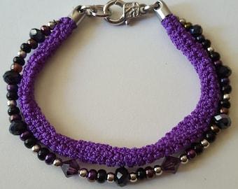 Crochet chord & glass bead dual bracelet