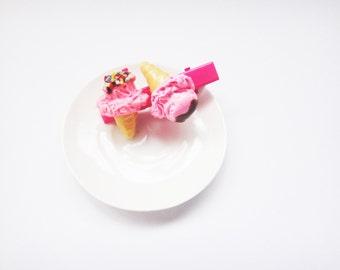 icecream Strawberry hair clip